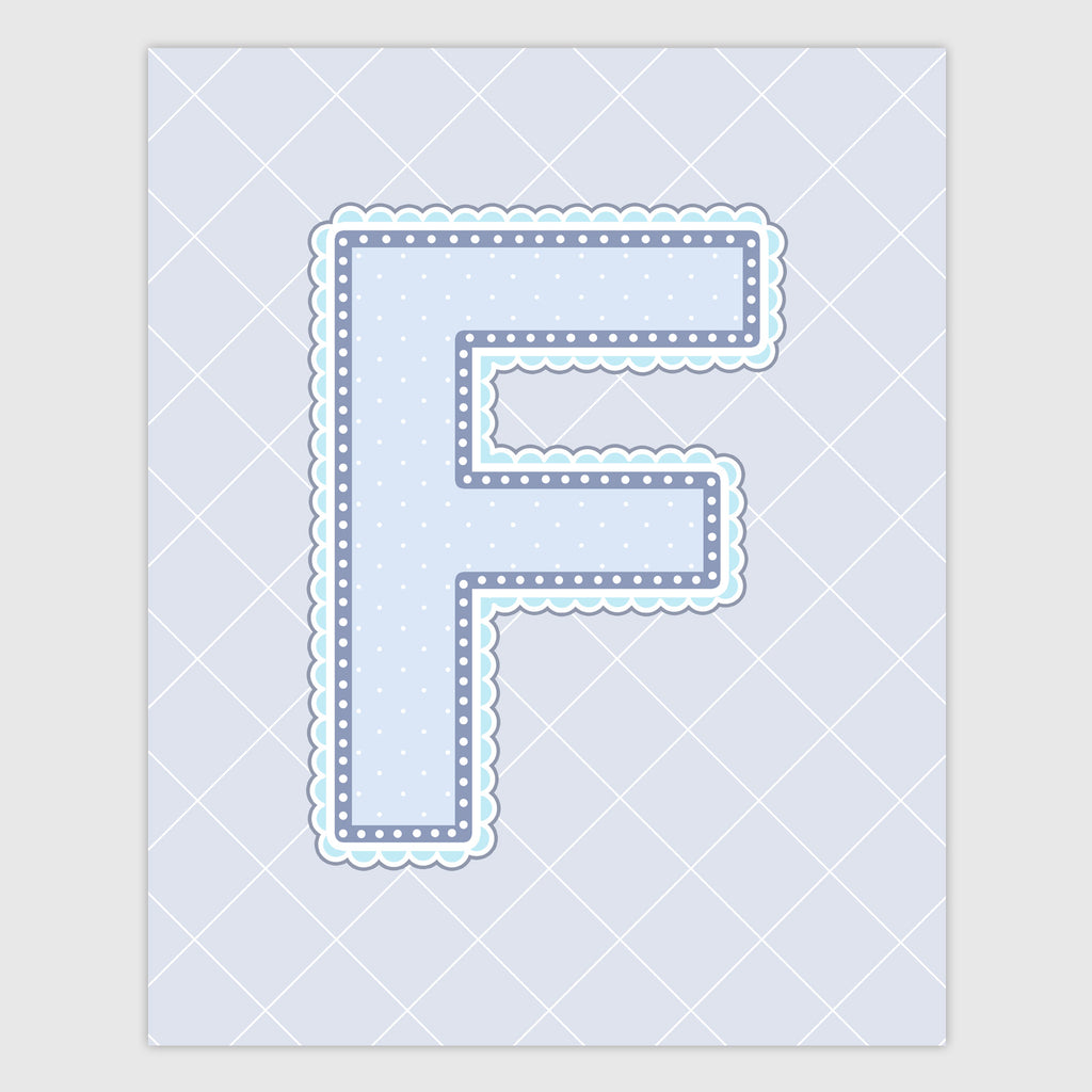 Name Art for Nursery - Lace Letter F in Blue, Grey, and Turquoise Color