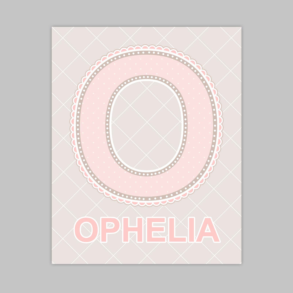 Customized Name Art for Nursery - Lace Letter O in Blush Pink Color