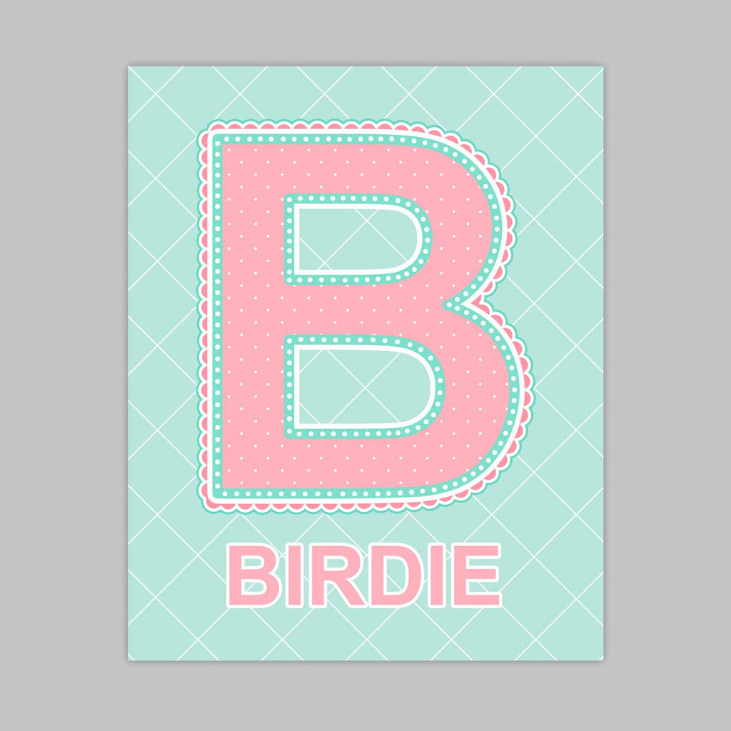 Custom Name Art for Nursery - Lace Letter B in Coral and Turquoise Color