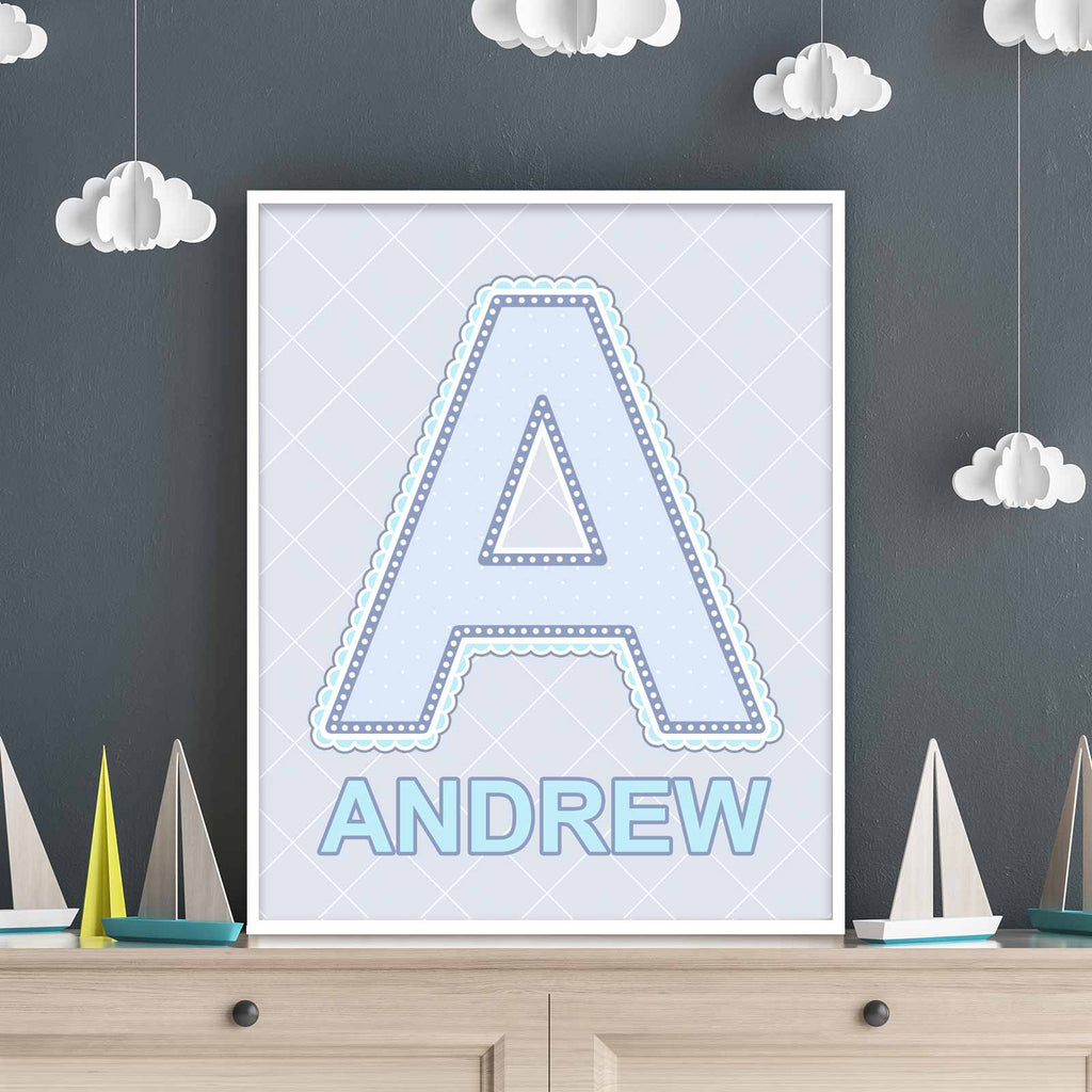 Name Art Famed on Shelf in Blue, Grey, and Turquoise Color