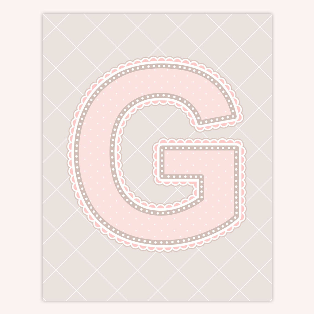 Name Art for Nursery - Lace Letter G in Blush Pink Color