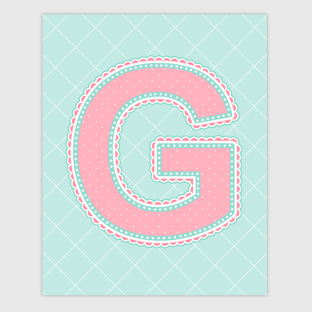 Name Art for Nursery - Lace Letter G in Coral and Turquoise Color