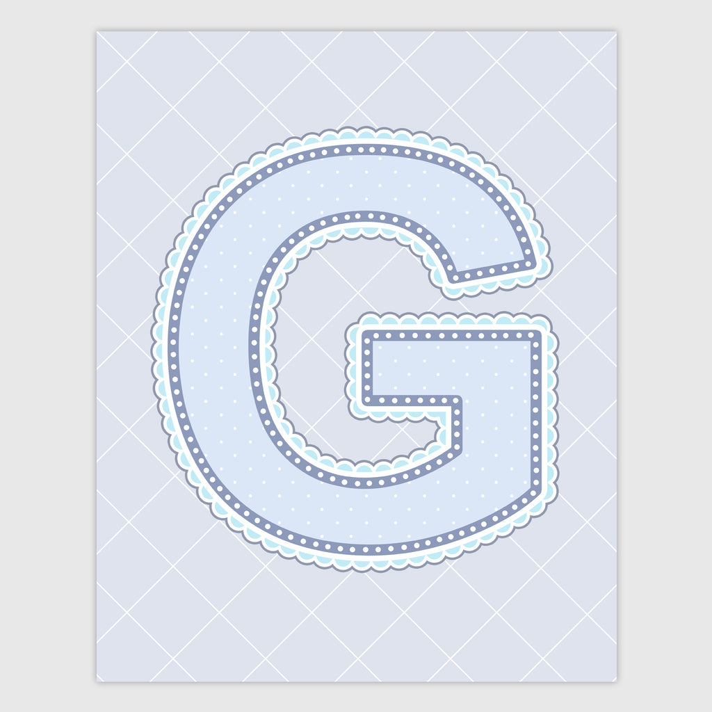 Name Art for Nursery - Lace Letter G in Blue, Grey, and Turquoise Color
