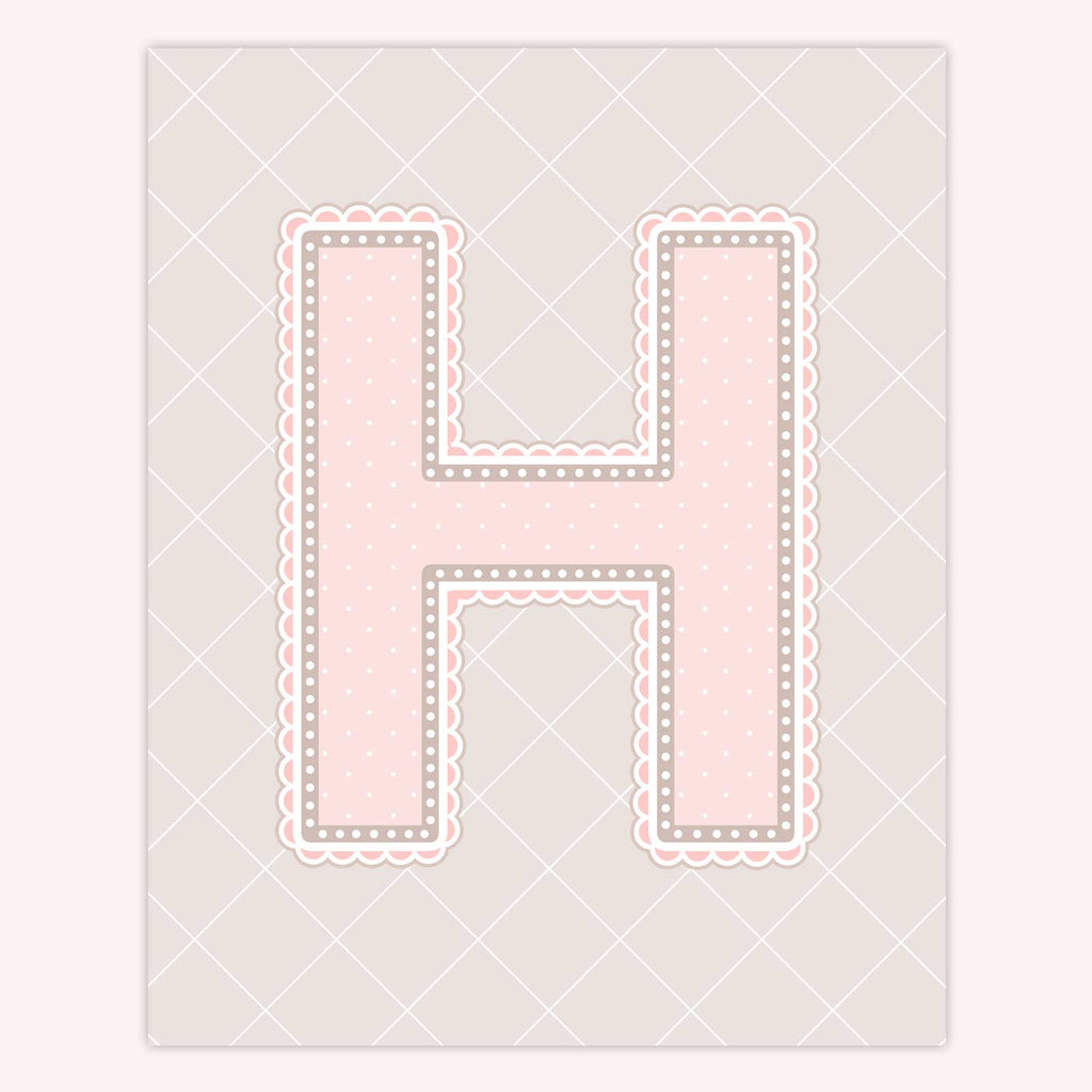 Name Art for Nursery - Lace Letter H in Blush Pink Color