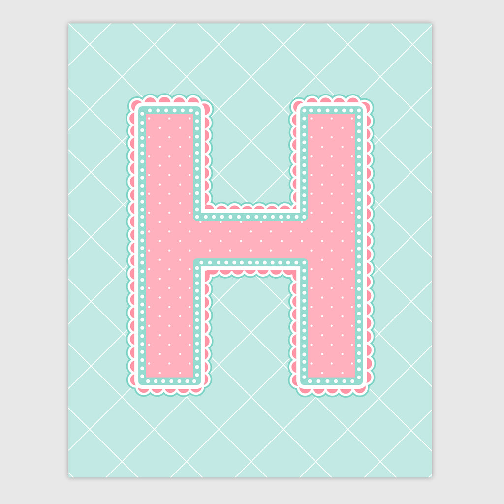 Name Art for Nursery - Lace Letter H in Coral and Turquoise Color