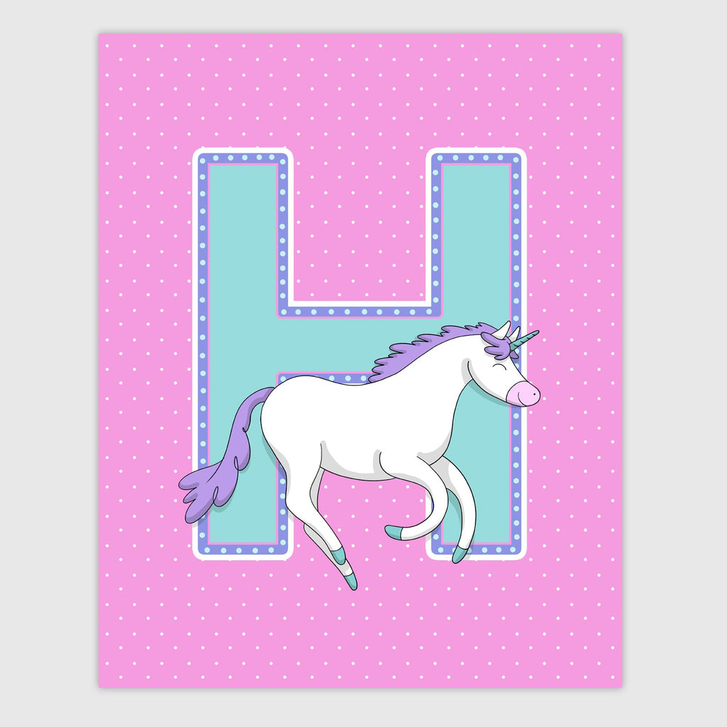Unicorn Letter Print | Cheery Color