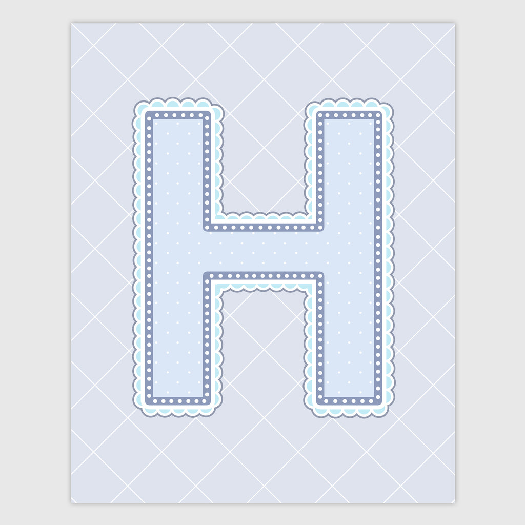 Name Art for Nursery - Lace Letter H in Blue, Grey, and Turquoise Color
