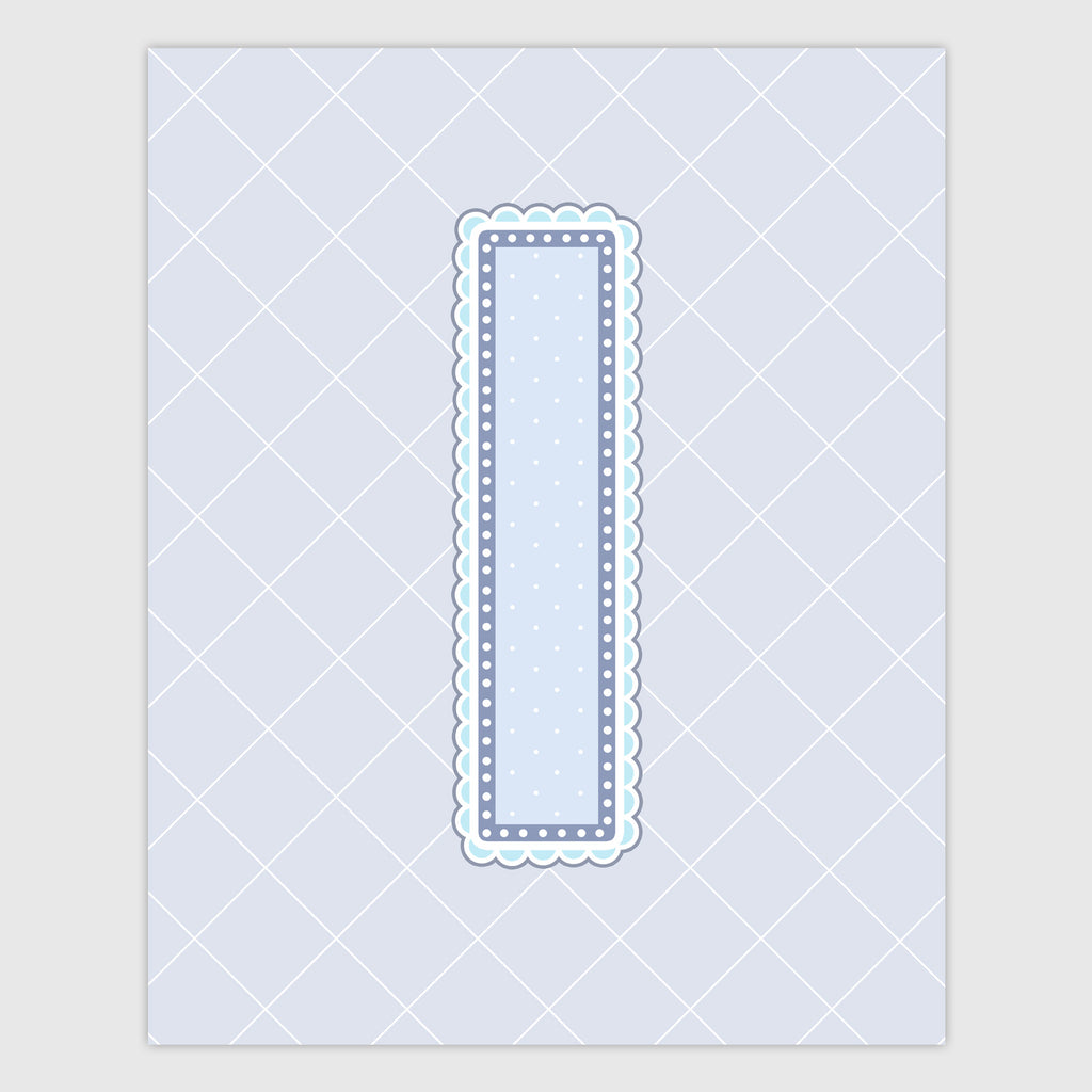 Name Art for Nursery - Lace Letter I in Blue, Grey, and Turquoise Color