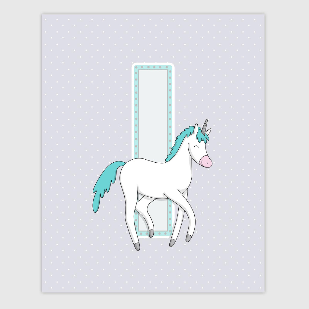 Unicorn Letter Print | Icy Color