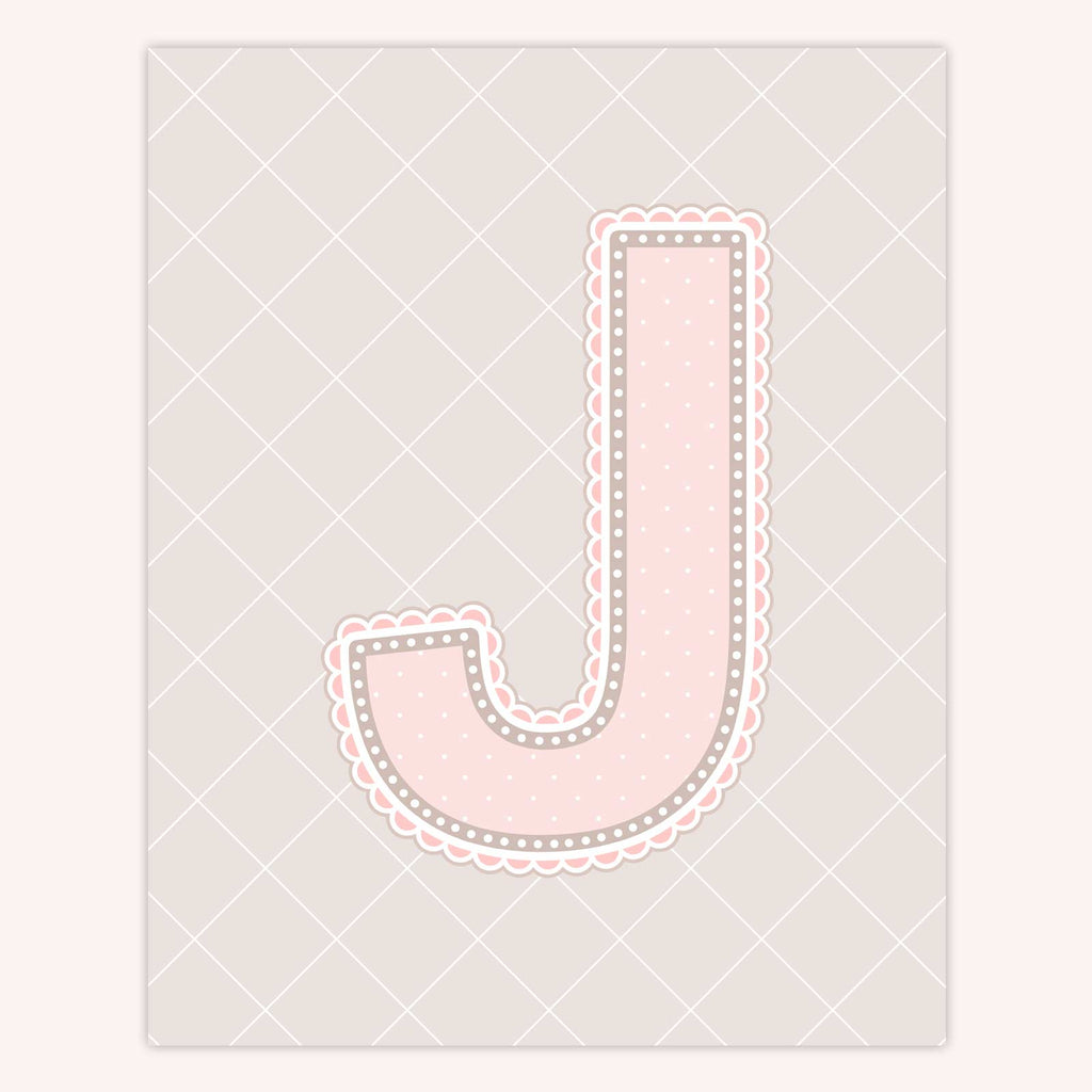 Name Art for Nursery - Lace Letter J in Blush Pink Color