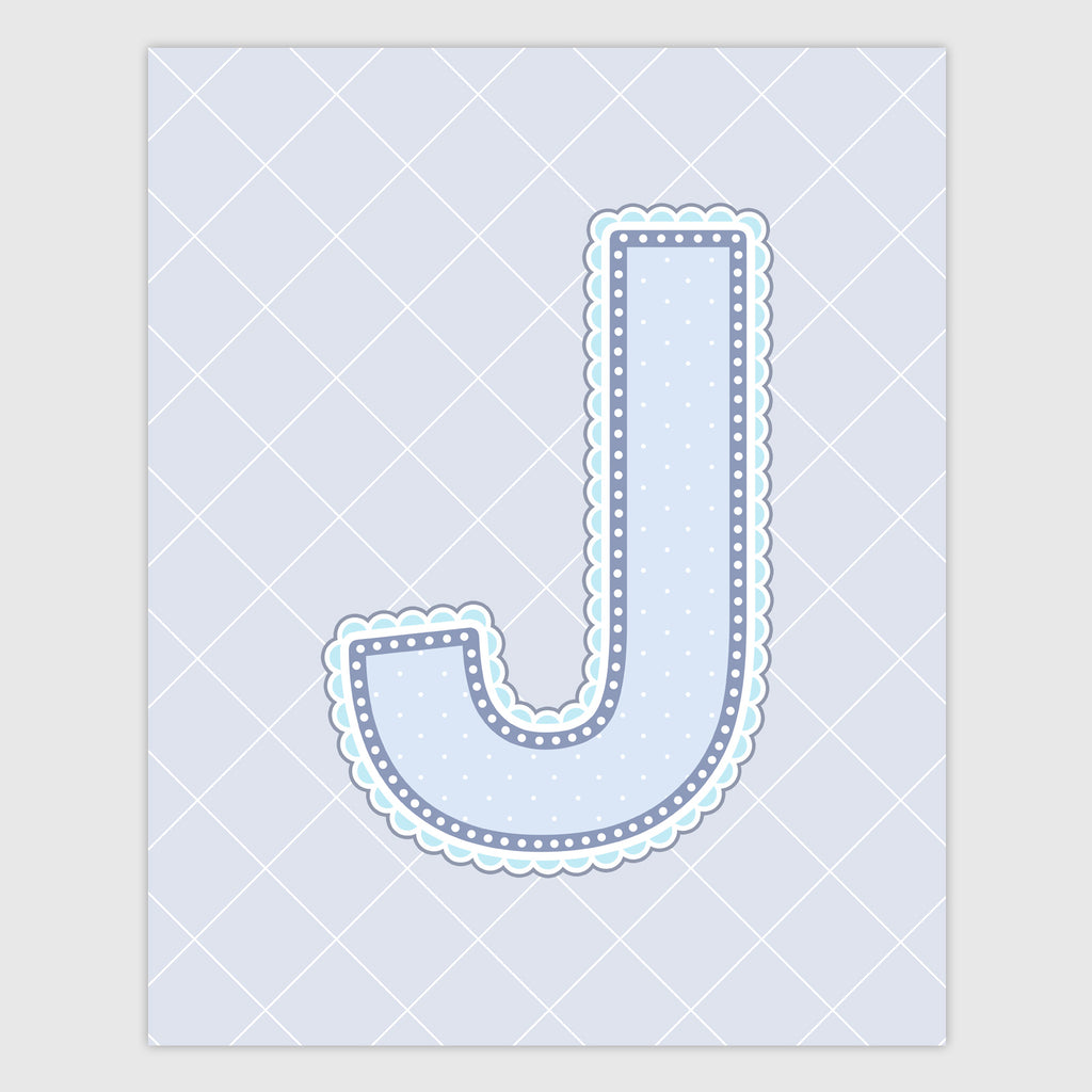 Name Art for Nursery - Lace Letter J in Blue, Grey, and Turquoise Color