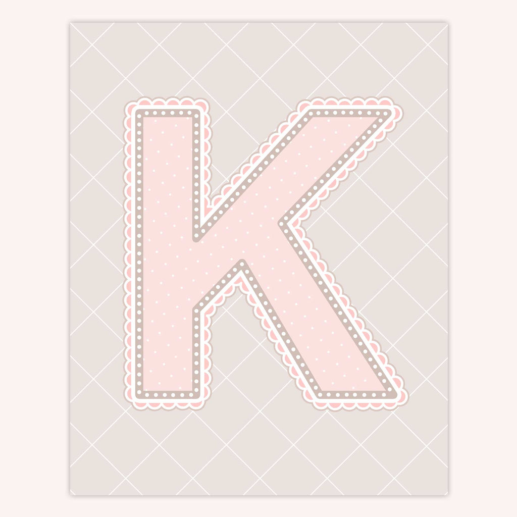 Name Art for Nursery - Lace Letter K in Blush Pink Color