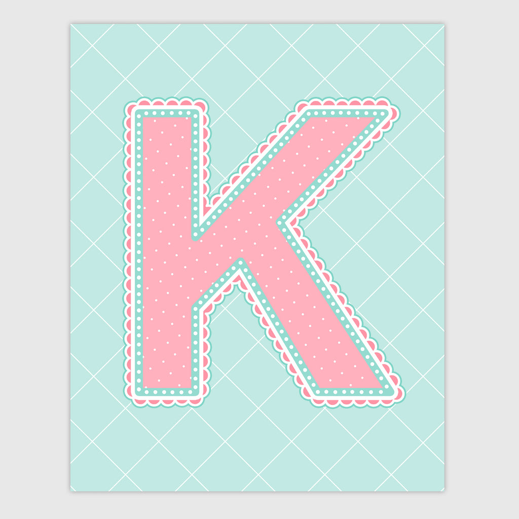 Name Art for Nursery - Lace Letter K in Coral and Turquoise Color