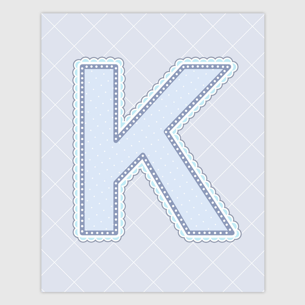 Name Art for Nursery - Lace Letter K in Blue, Grey, and Turquoise Color