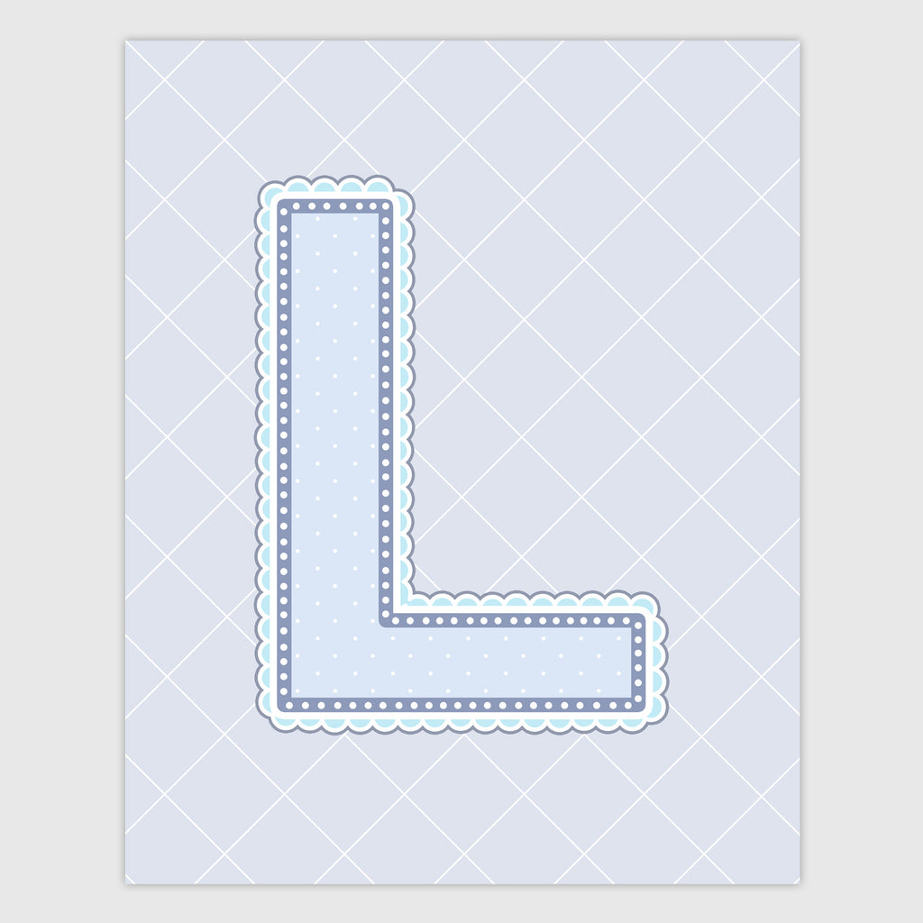 Name Art for Nursery - Lace Letter L in Blue, Grey, and Turquoise Color