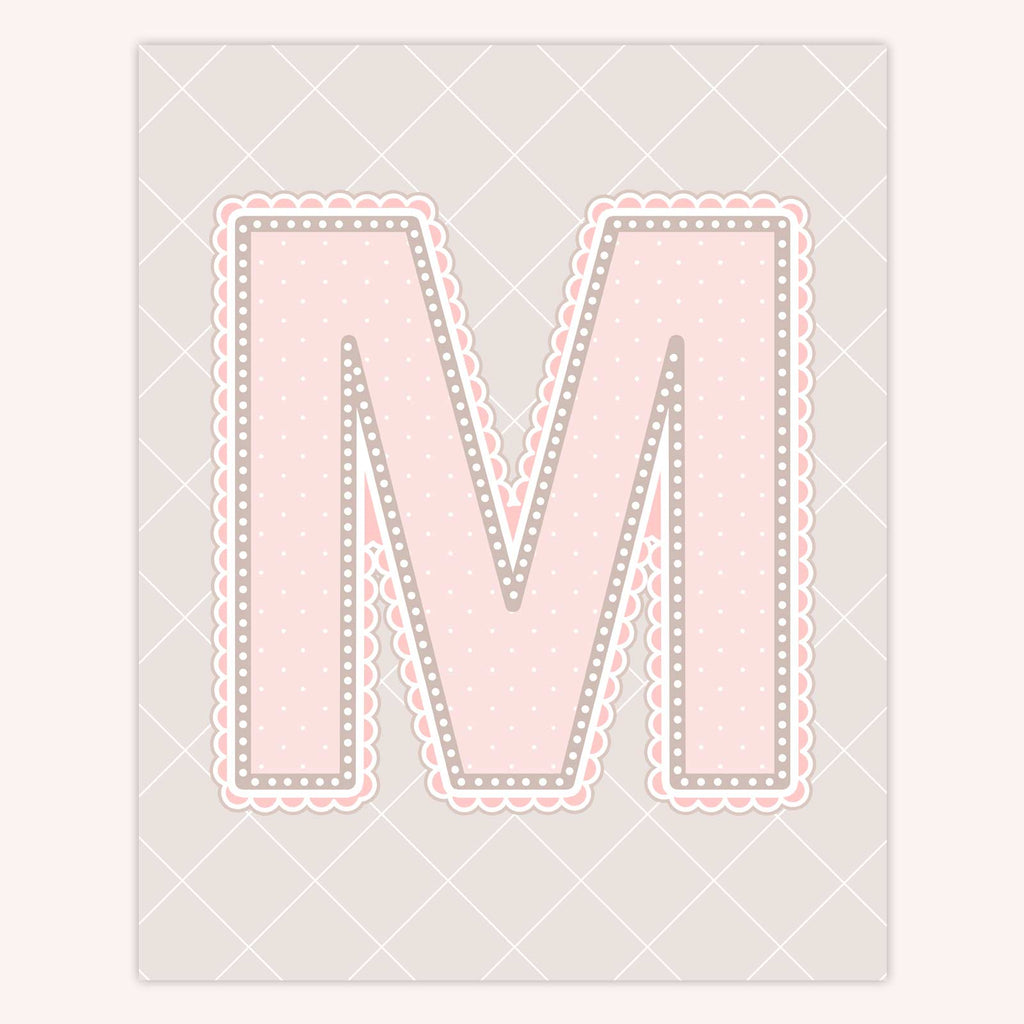 Name Art for Nursery - Lace Letter M in Blush Pink Color