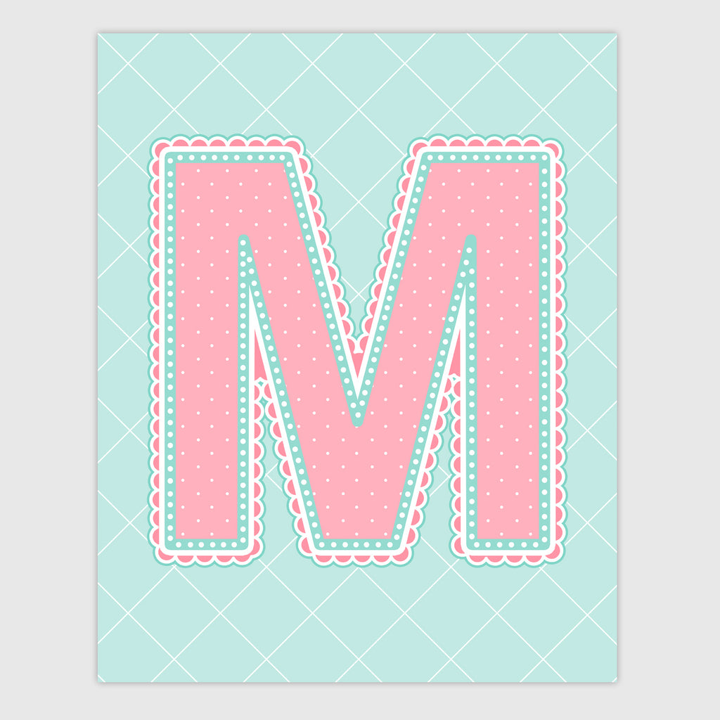 Name Art for Nursery - Lace Letter M in Coral and Turquoise Color