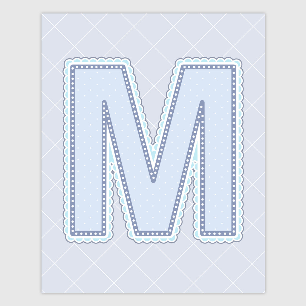 Name Art for Nursery - Lace Letter M in Blue, Grey, and Turquoise Color