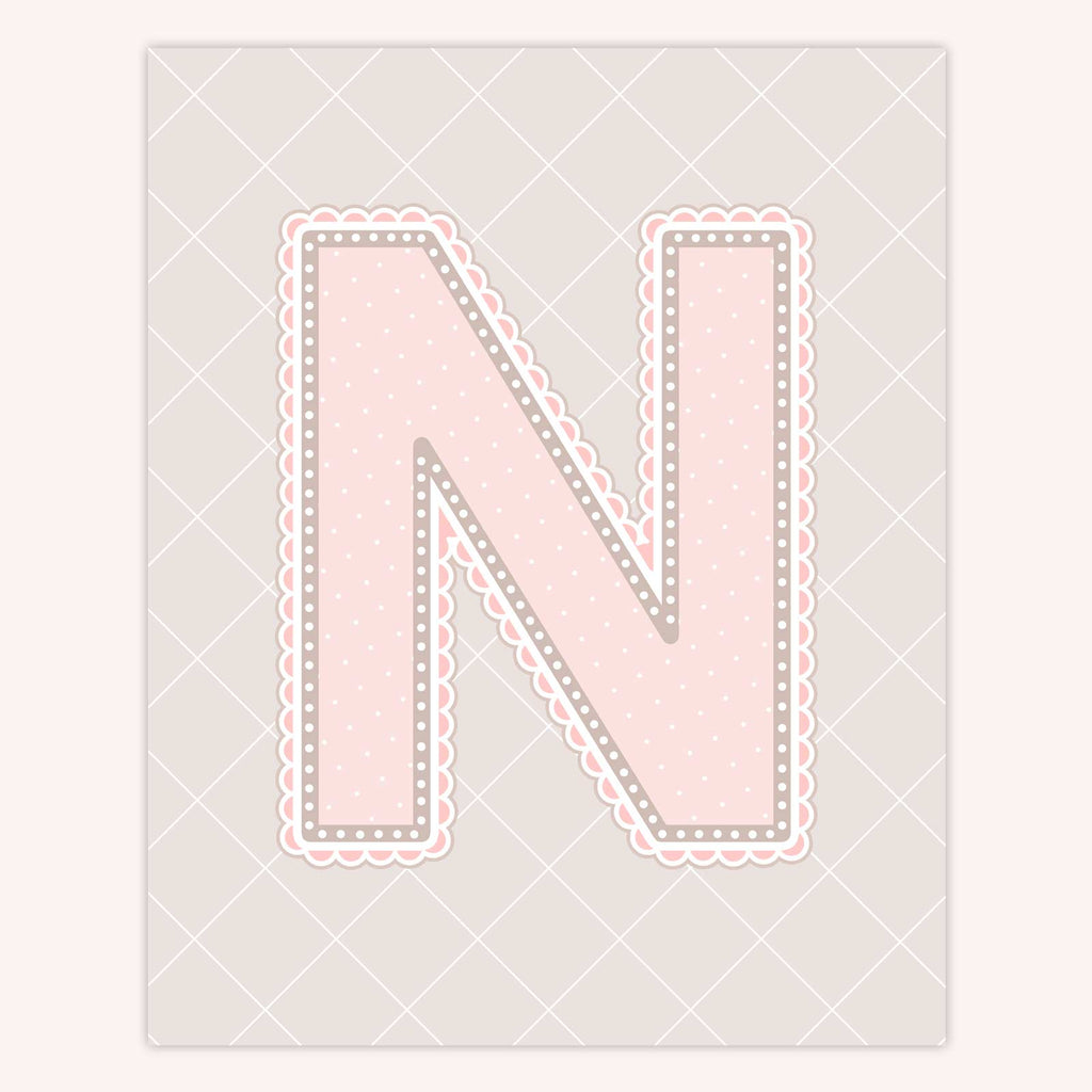 Name Art for Nursery - Lace Letter N in Blush Pink Color