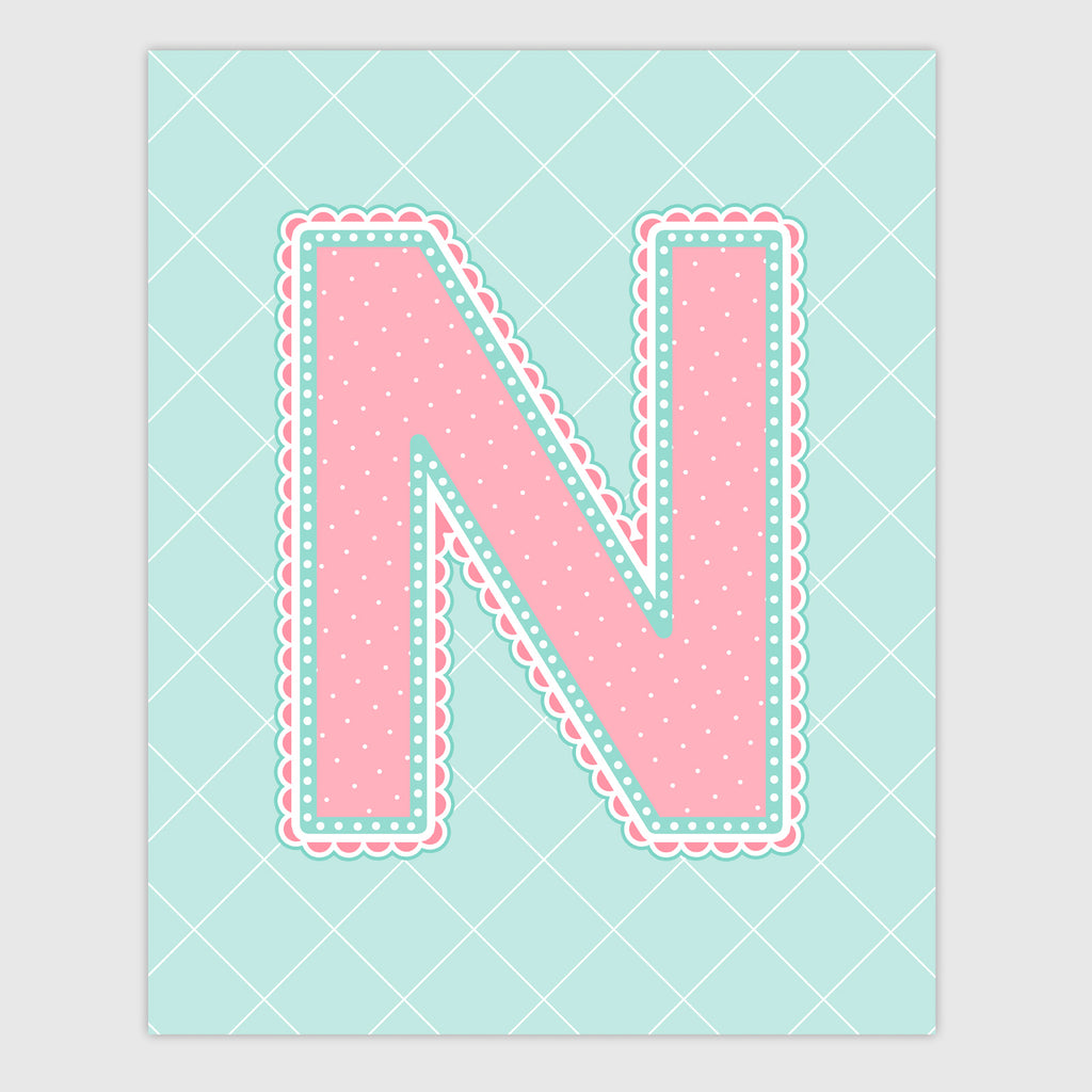 Name Art for Nursery - Lace Letter N in Coral and Turquoise Color