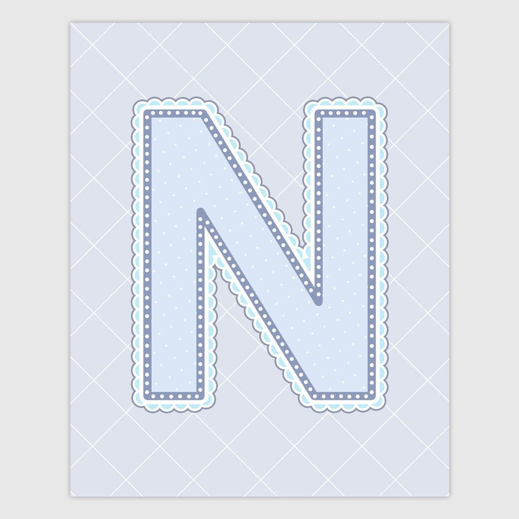 Name Art for Nursery - Lace Letter N in Blue, Grey, and Turquoise Color