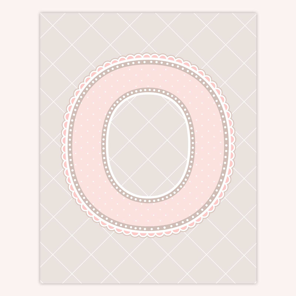 Name Art for Nursery - Lace Letter O in Blush Pink Color