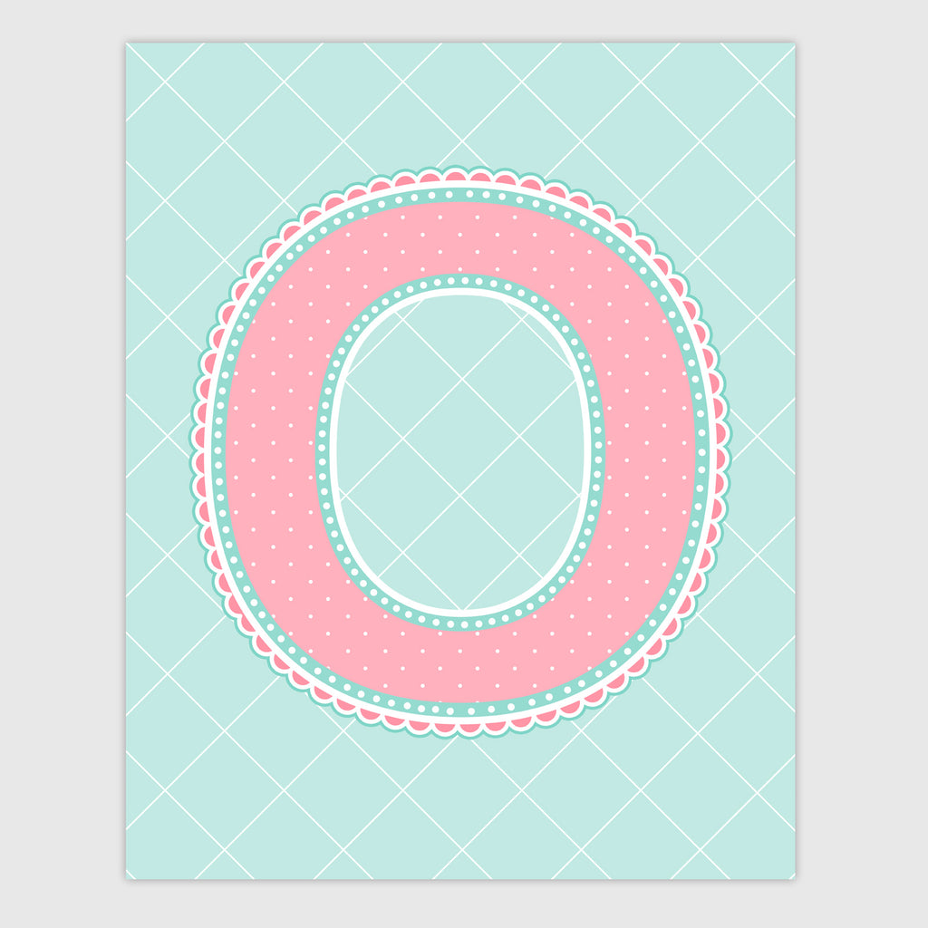 Name Art for Nursery - Lace Letter O in Coral and Turquoise Color