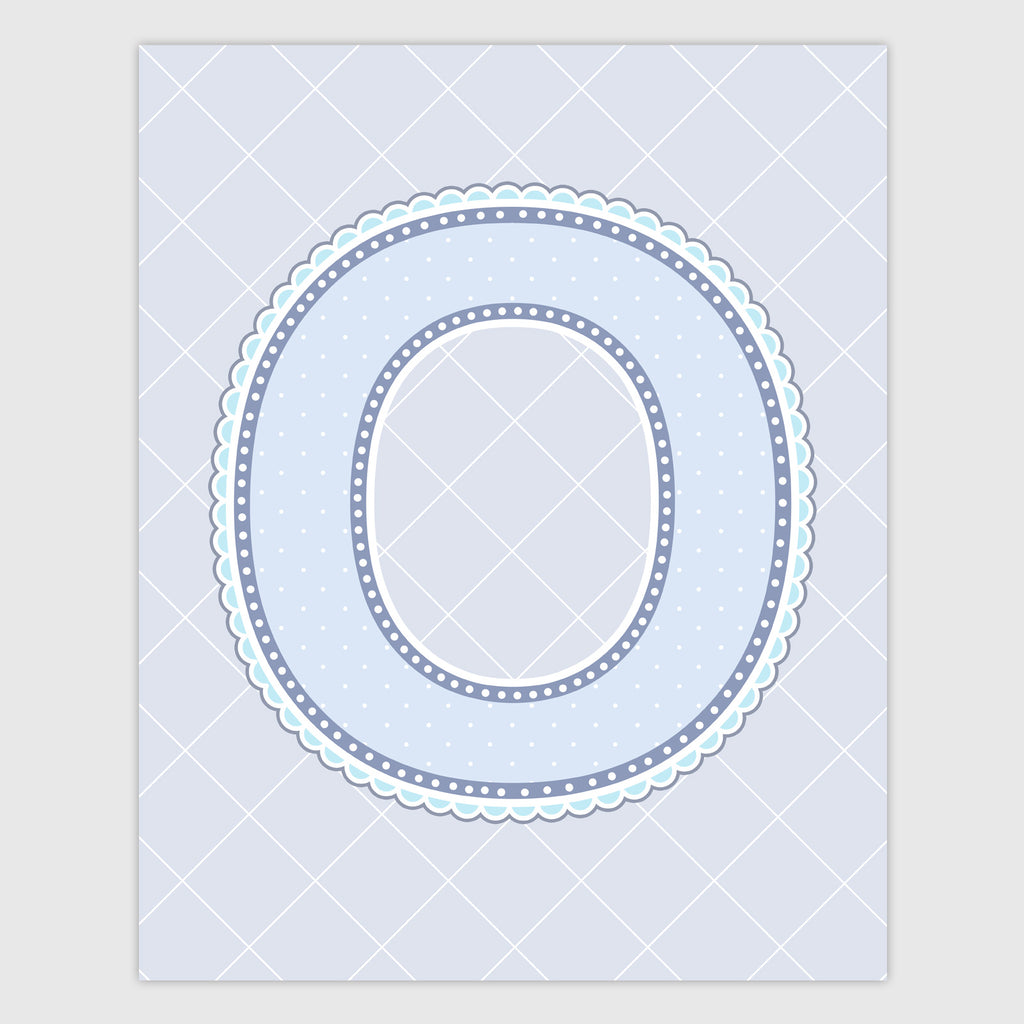 Name Art for Nursery - Lace Letter O in Blue, Grey, and Turquoise Color