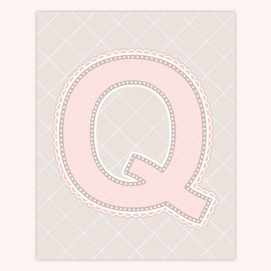 Name Art for Nursery - Lace Letter Q in Blush Pink Color