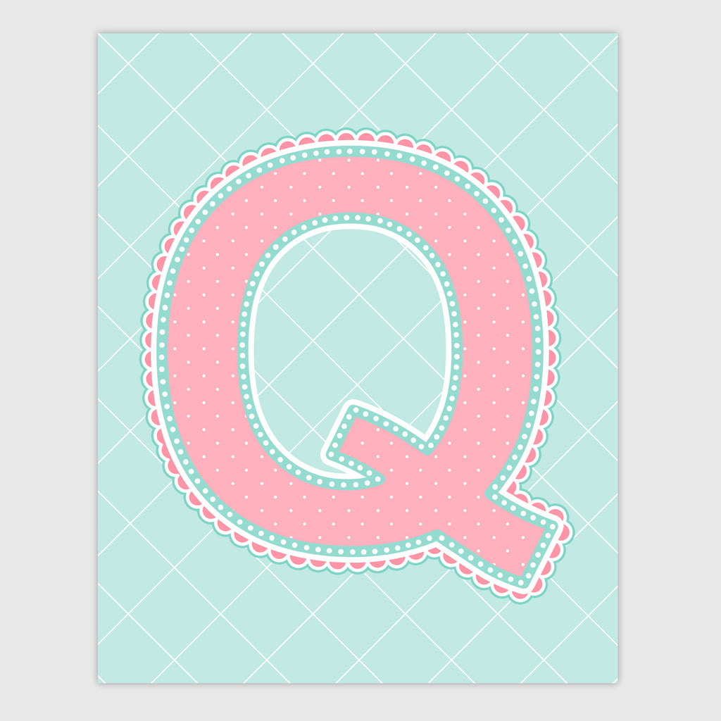 Name Art for Nursery - Lace Letter Q in Coral and Turquoise Color