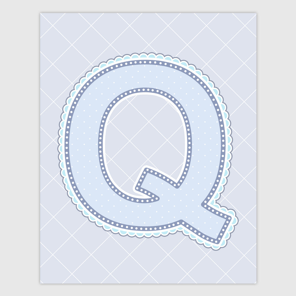 Name Art for Nursery - Lace Letter Q in Blue, Grey, and Turquoise Color
