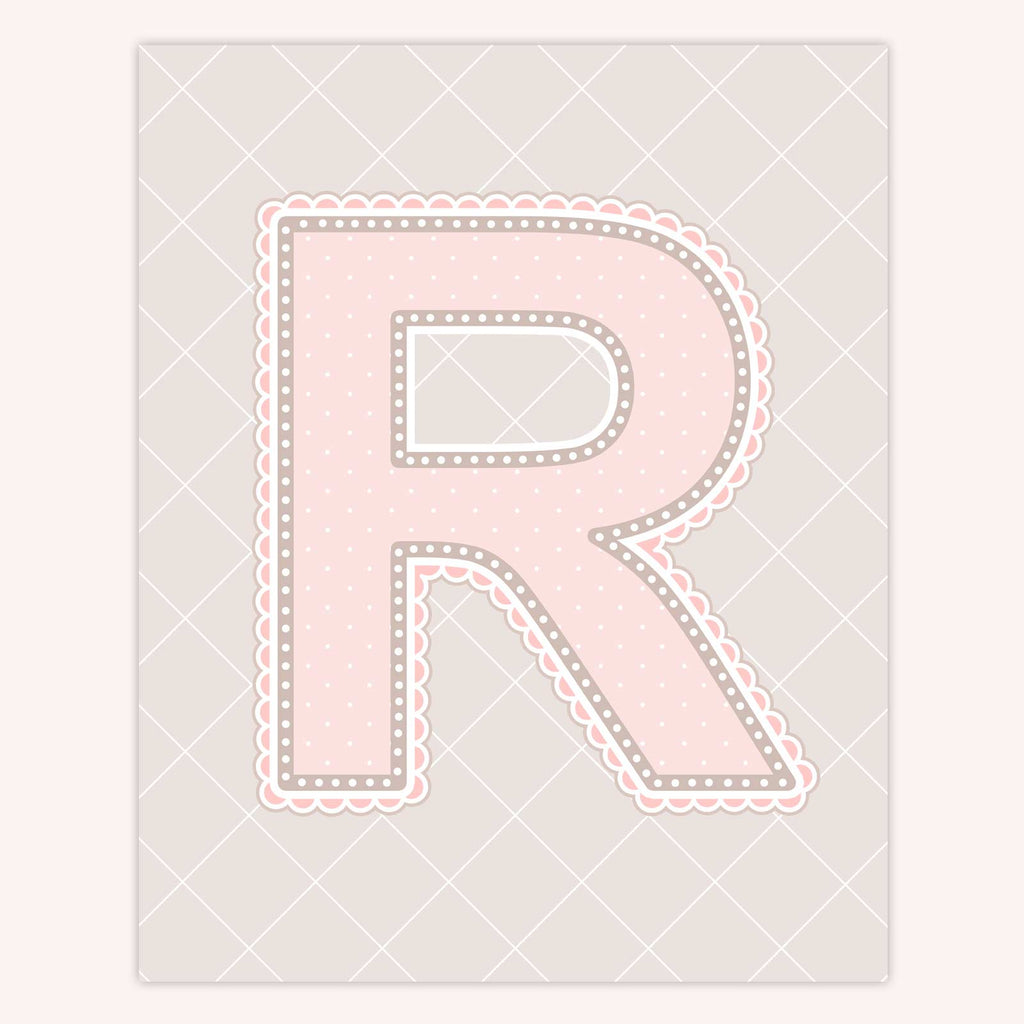 Name Art for Nursery - Lace Letter R in Blush Pink Color