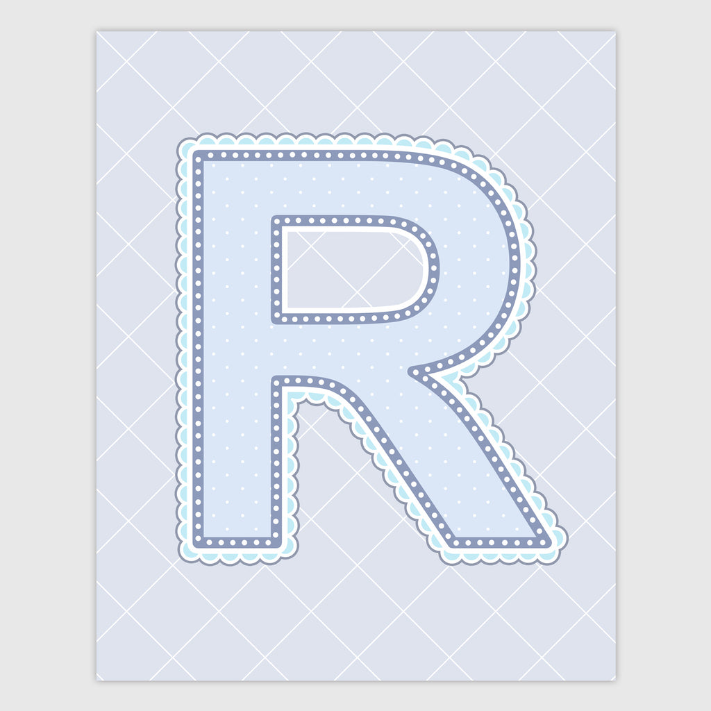 Name Art for Nursery - Lace Letter R in Blue, Grey, and Turquoise Color
