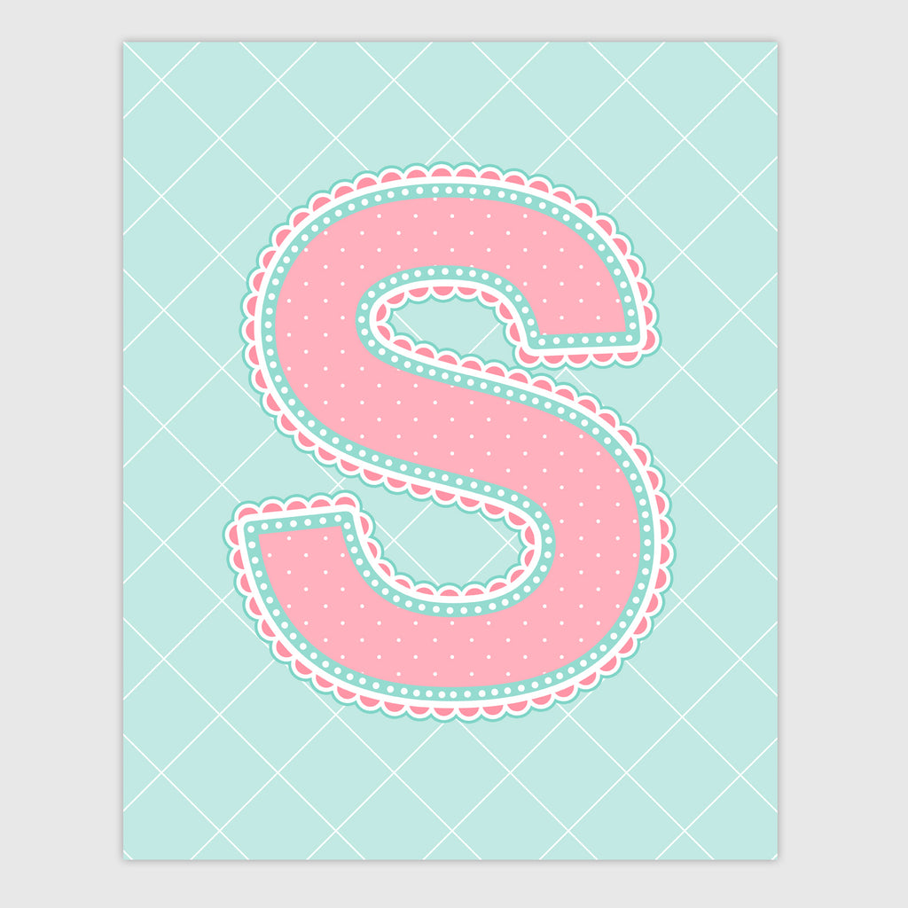 Name Art for Nursery - Lace Letter S in Coral and Turquoise Color