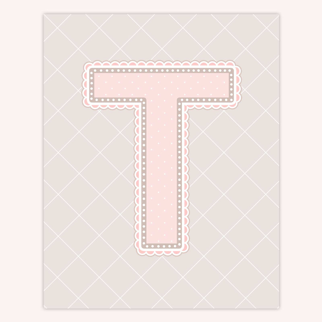 Name Art for Nursery - Lace Letter T in Blush Pink Color