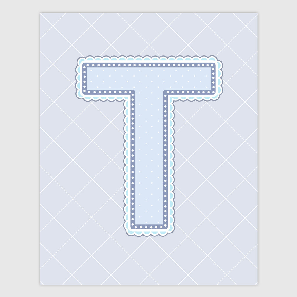 Name Art for Nursery - Lace Letter T in Blue, Grey, and Turquoise Color