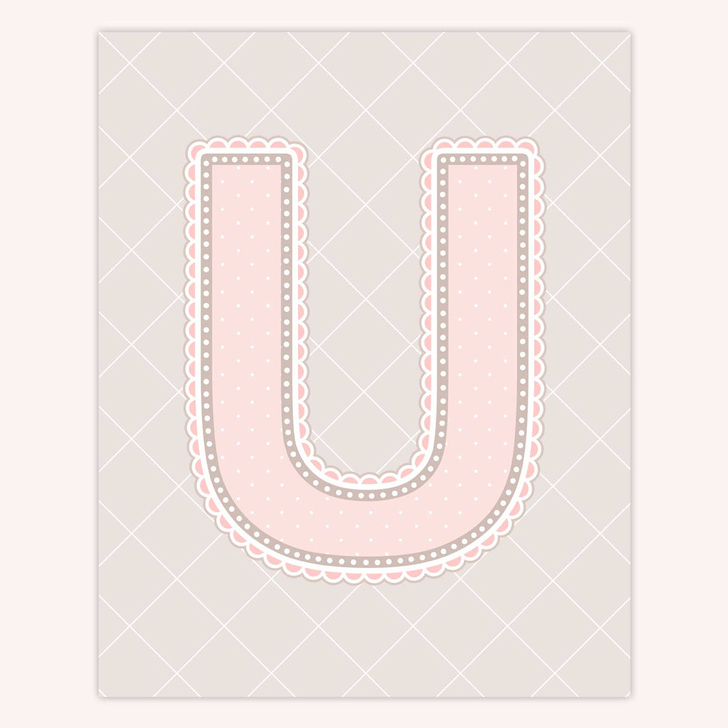 Name Art for Nursery - Lace Letter U in Blush Pink Color