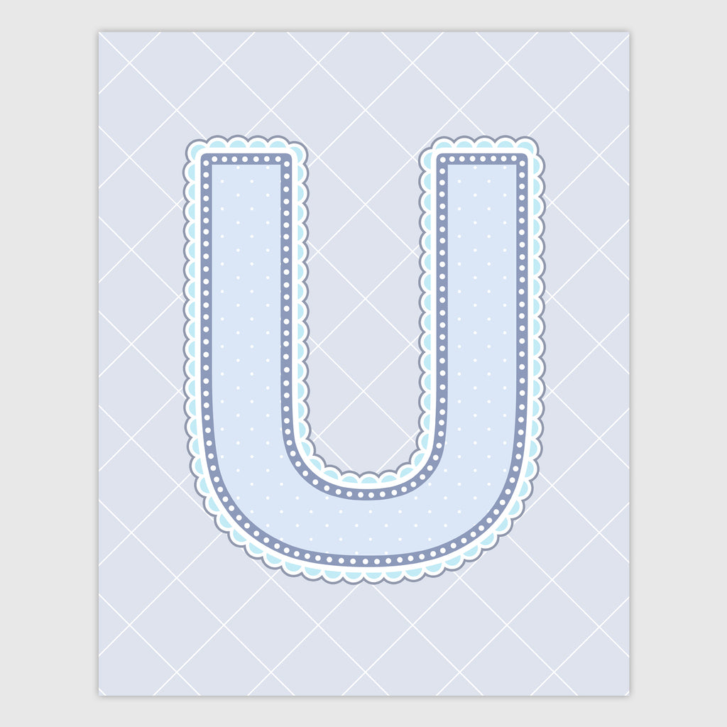 Name Art for Nursery - Lace Letter U in Blue, Grey, and Turquoise Color