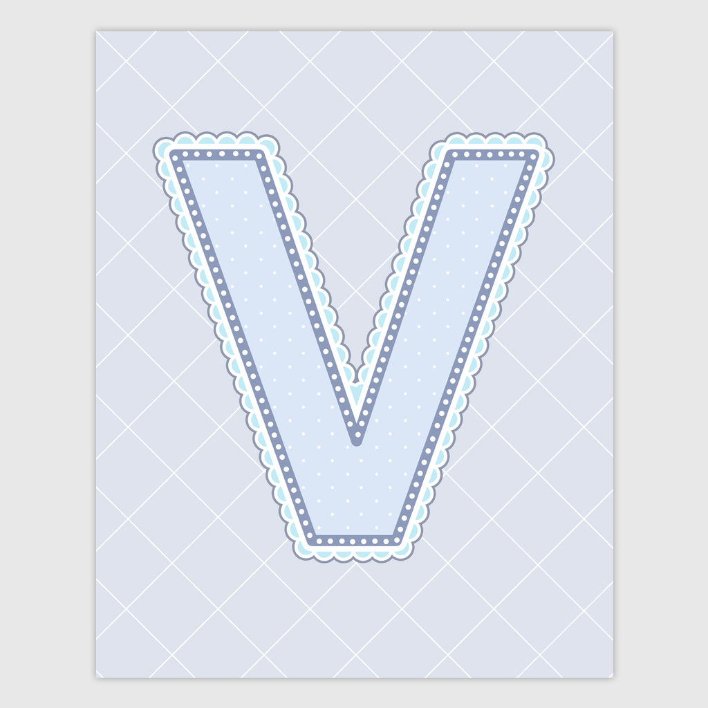 Name Art for Nursery - Lace Letter V in Blue, Grey, and Turquoise Color