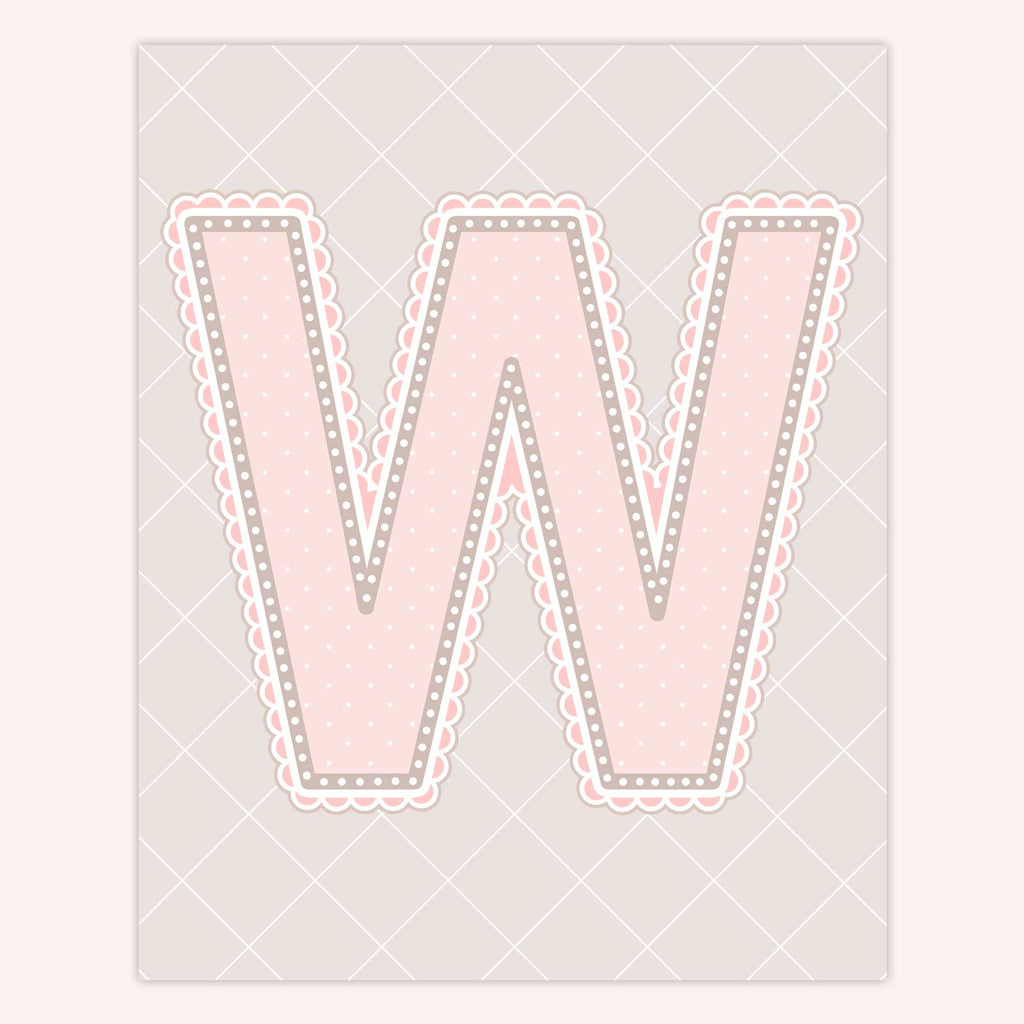 Name Art for Nursery - Lace Letter W in Blush Pink Color