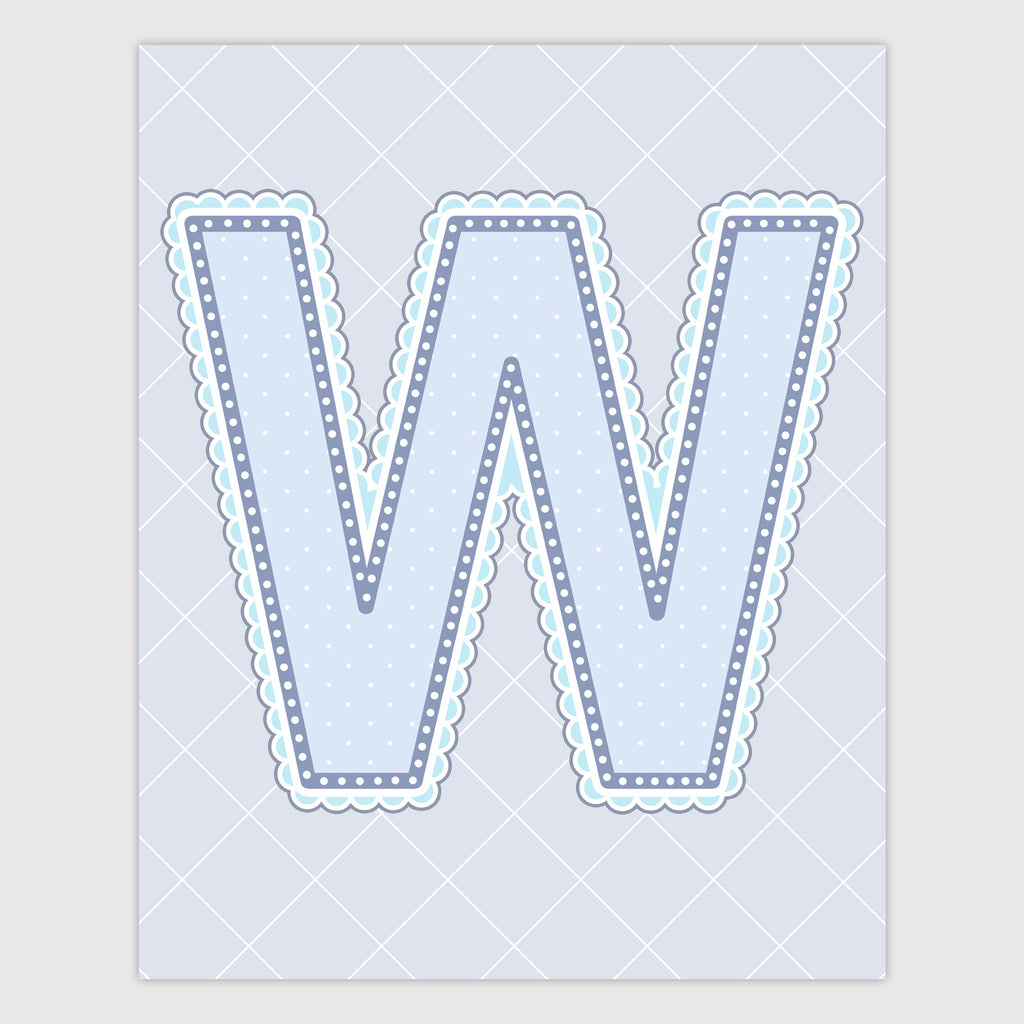 Name Art for Nursery - Lace Letter W in Blue, Grey, and Turquoise Color