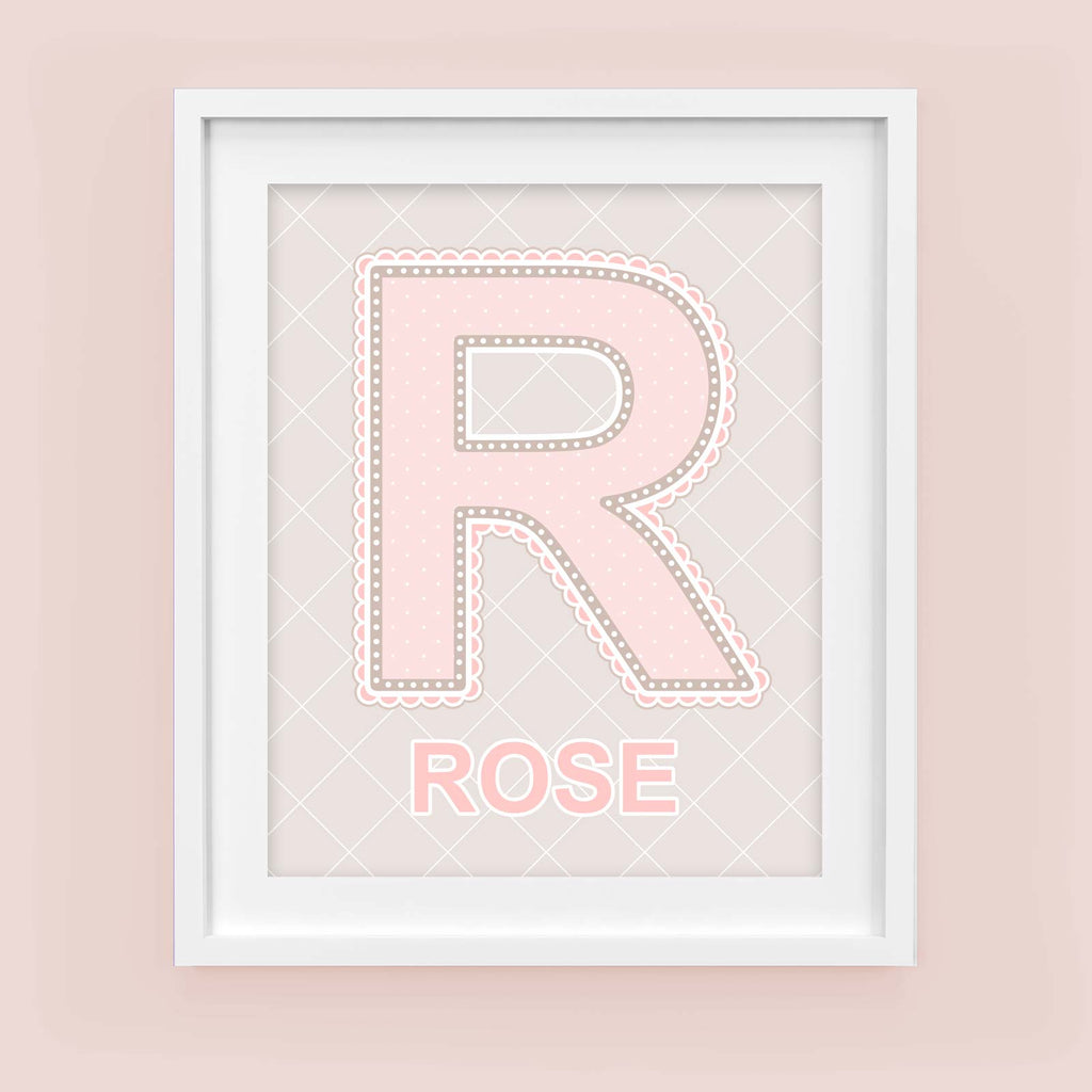 Framed Name Art for Nursery - Lace Letter R in Blush Pink Color