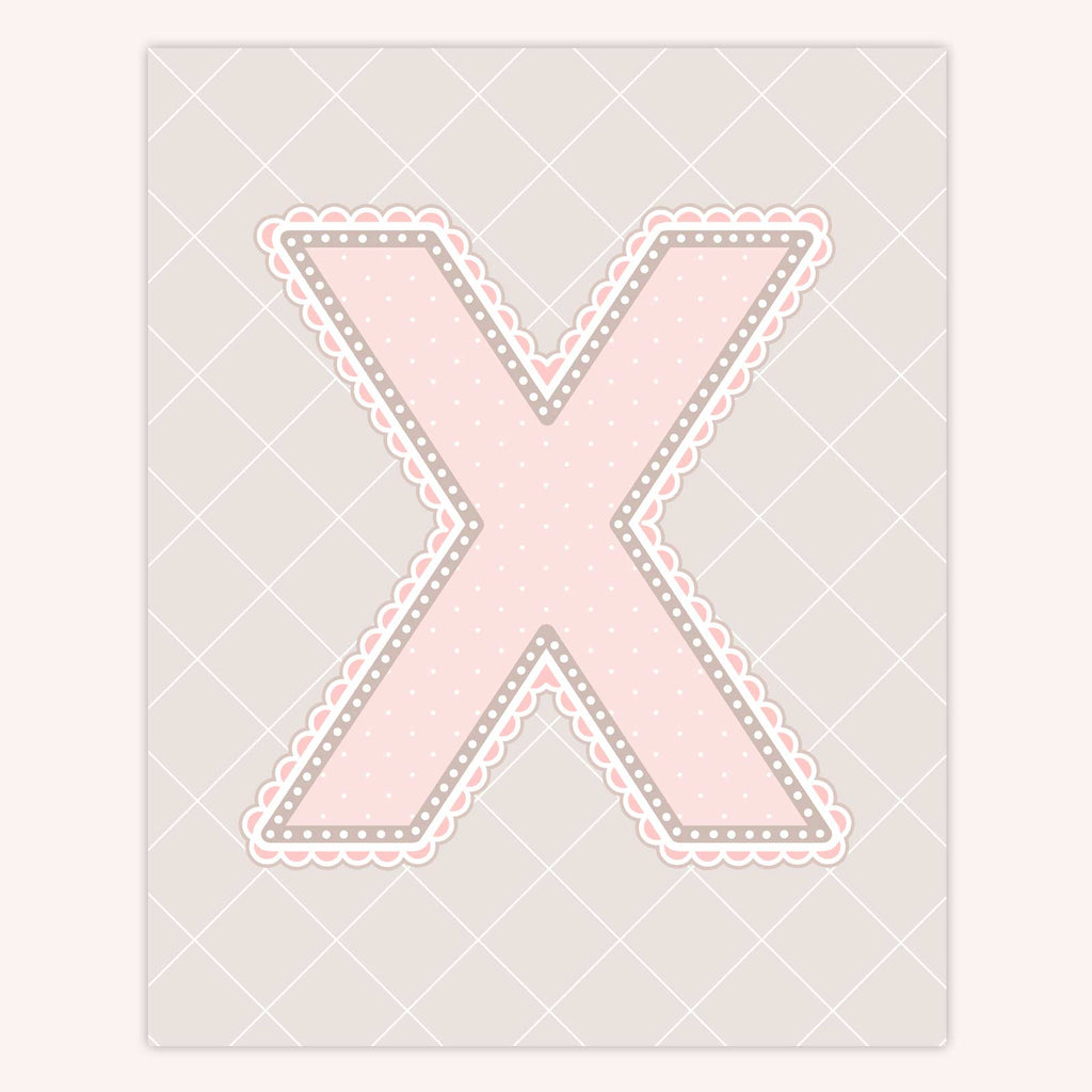 Name Art for Nursery - Lace Letter X in Blush Pink Color