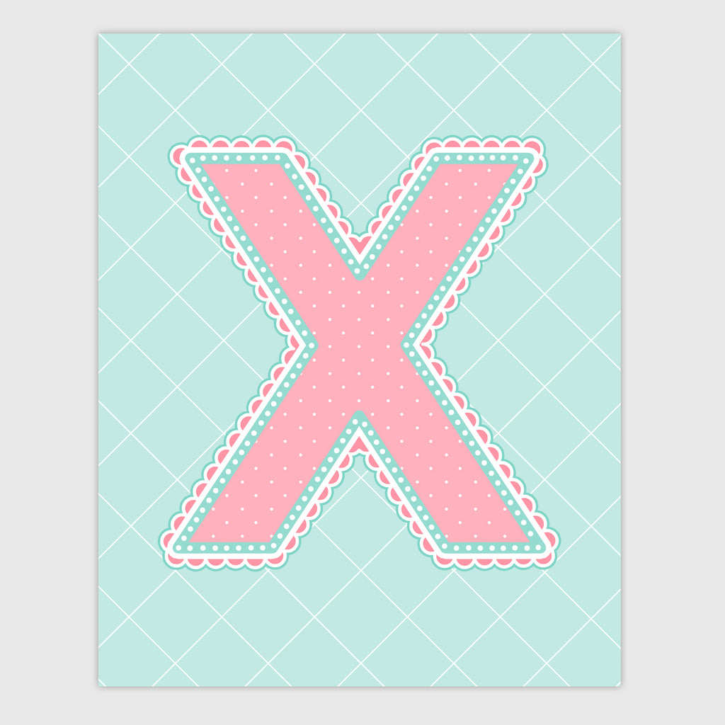 Name Art for Nursery - Lace Letter X in Coral and Turquoise Color
