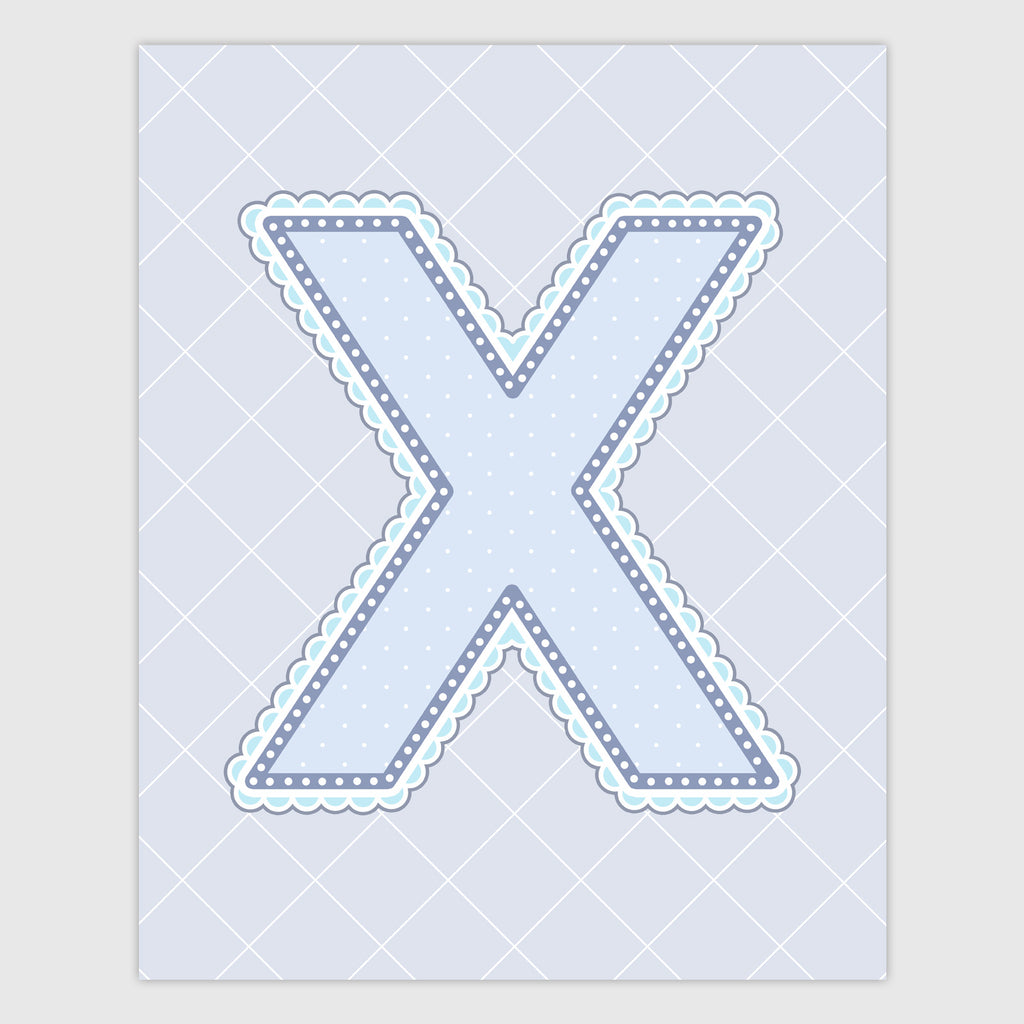 Name Art for Nursery - Lace Letter X in Blue, Grey, and Turquoise Color