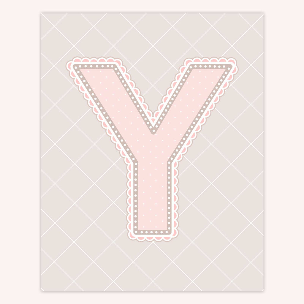 Name Art for Nursery - Lace Letter Y in Blush Pink Color