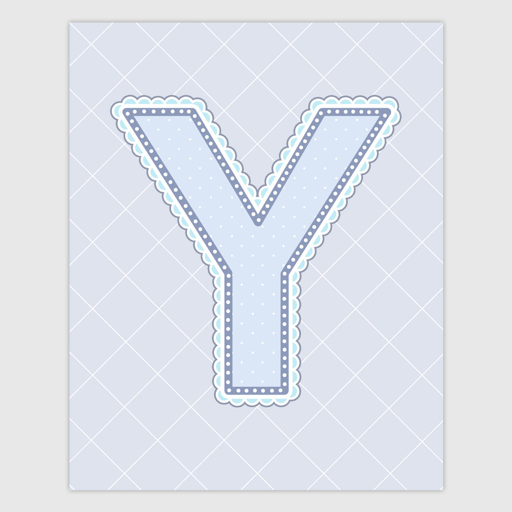 Name Art for Nursery - Lace Letter Y in Blue, Grey, and Turquoise Color