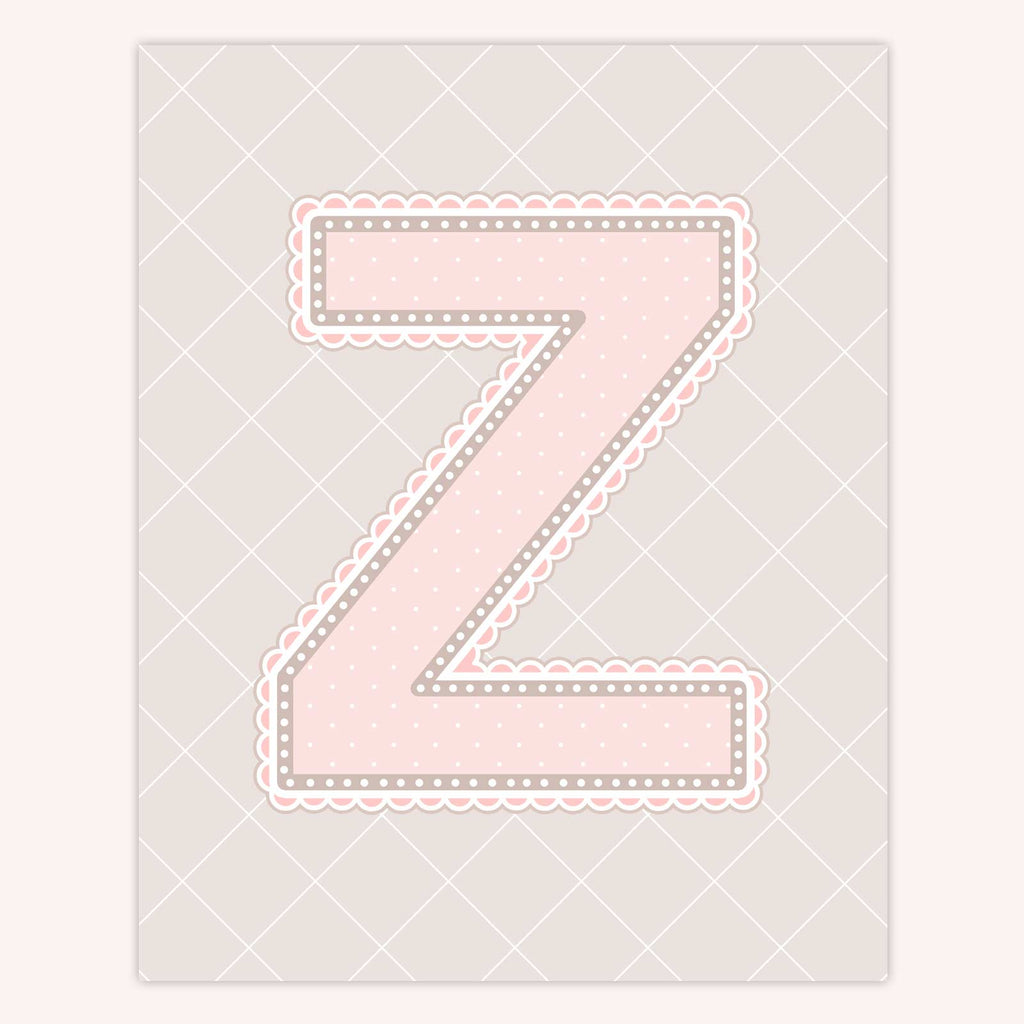 Name Art for Nursery - Lace Letter Z in Blush Pink Color