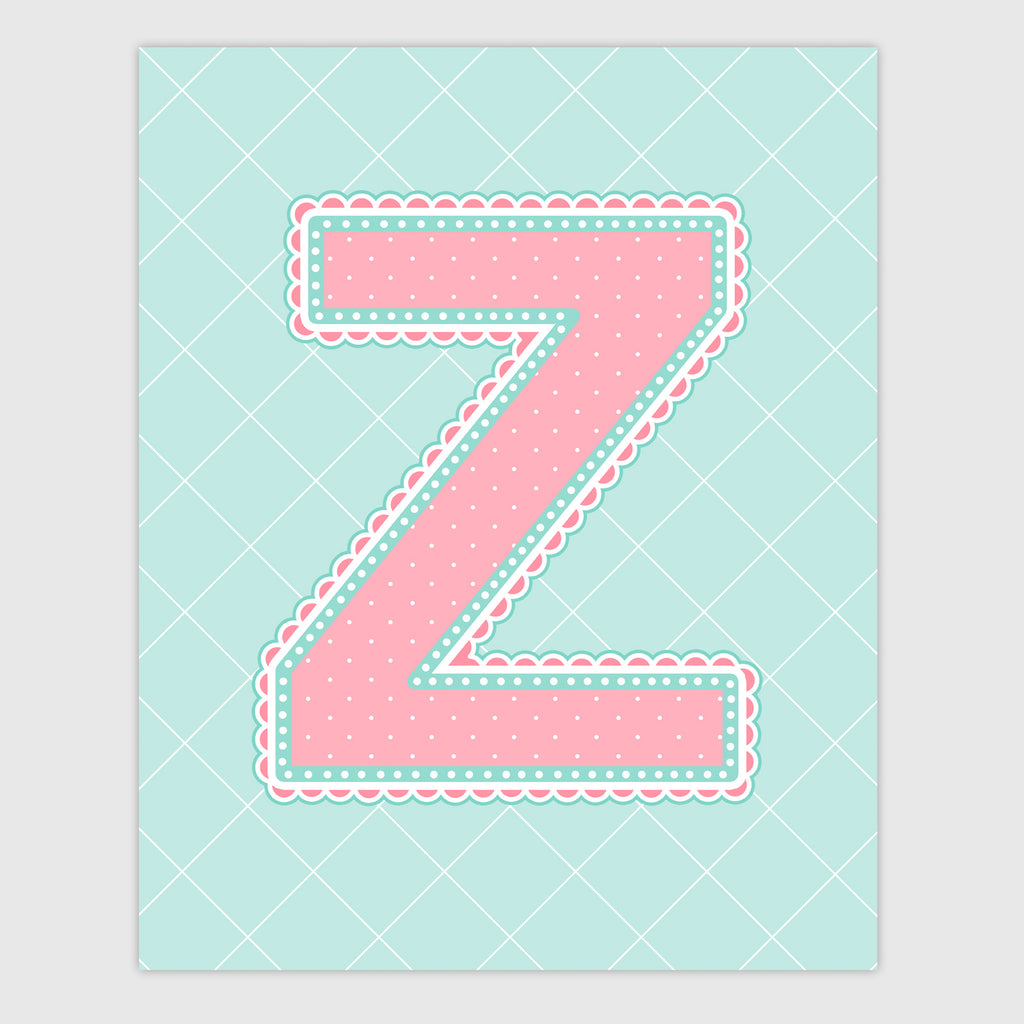 Name Art for Nursery - Lace Letter Z in Coral and Turquoise Color