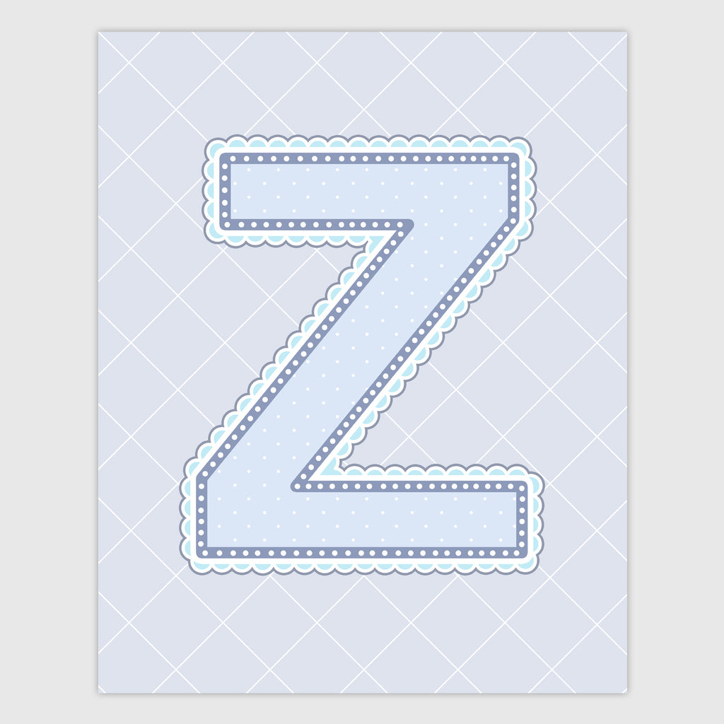 Name Art for Nursery - Lace Letter Z in Blue, Grey, and Turquoise Color